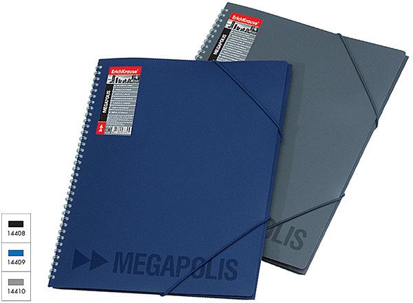 "Папка на спирали ""UNI-PROJECT MEGAPOLIS"" (А4) с прозрачными листами-карманами, 14408"